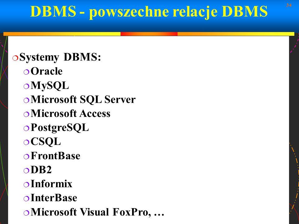 DBMS - powszechne relacje DBMS