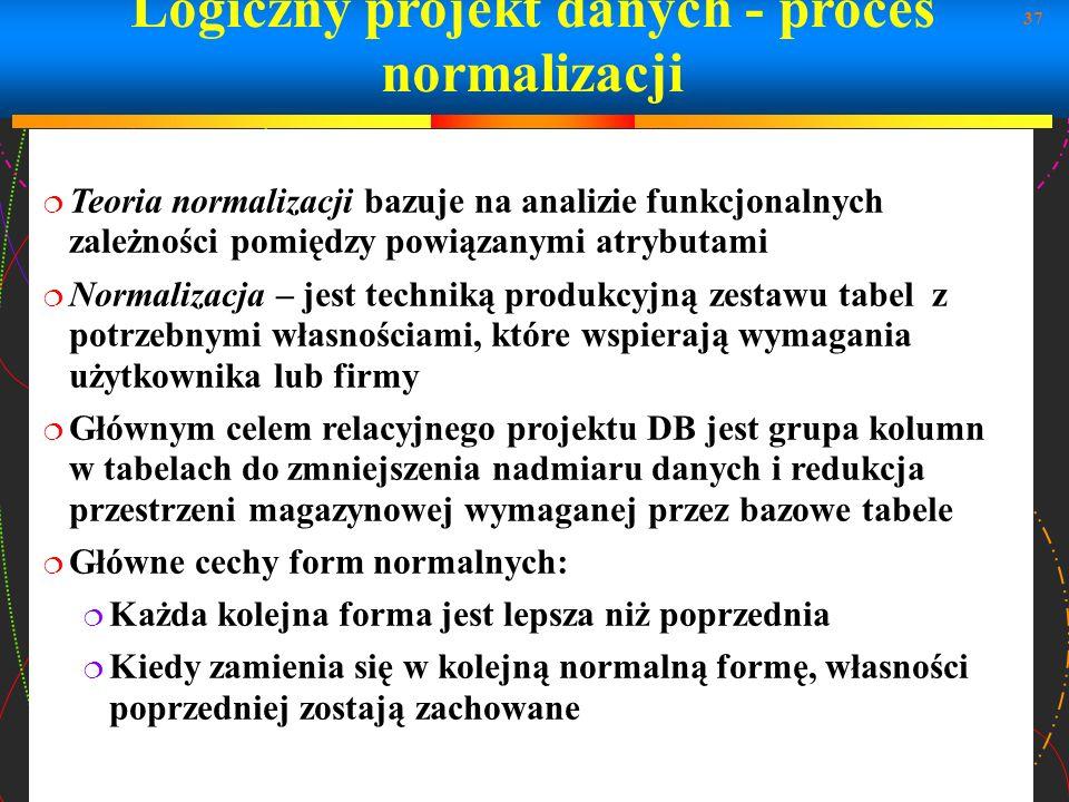 Logiczny projekt danych - proces normalizacji