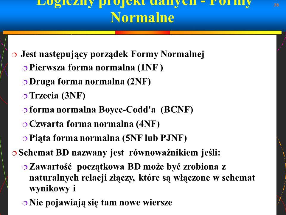 Logiczny projekt danych - Formy Normalne
