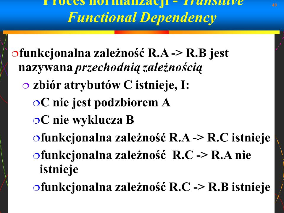 Proces normalizacji - Transitive Functional Dependency
