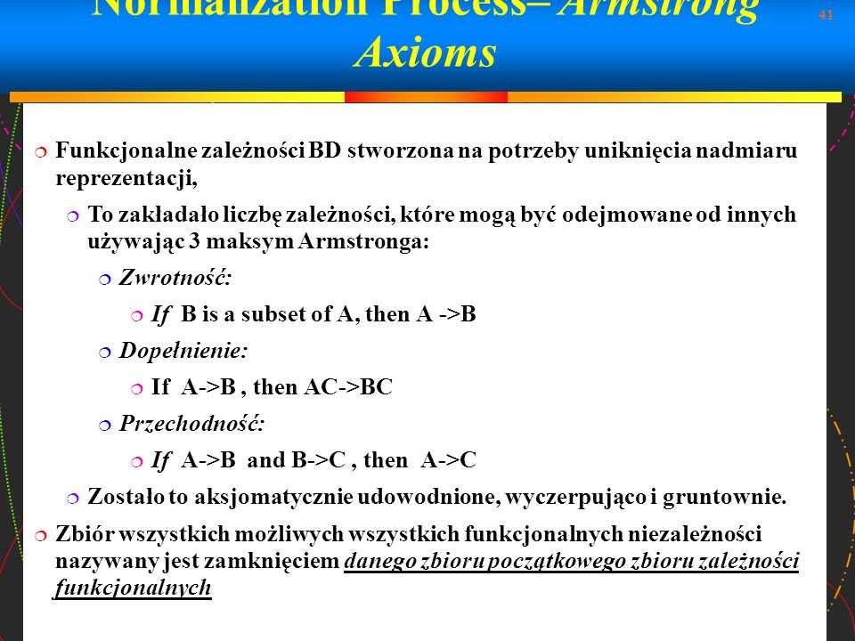 Normalization Process– Armstrong Axioms