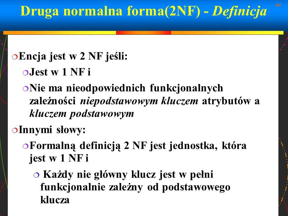 Druga normalna forma(2NF) - Definicja