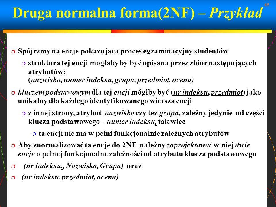 Druga normalna forma(2NF) – Przykład