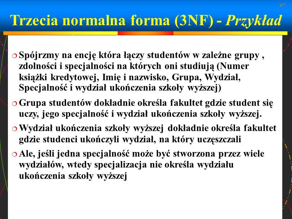Trzecia normalna forma (3NF) - Przykład
