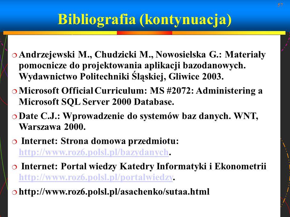 Bibliografia (kontynuacja)