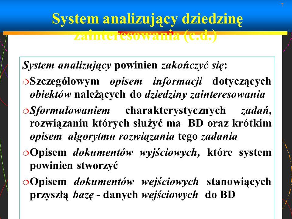 System analizujący dziedzinę zainteresowania (c.d.)