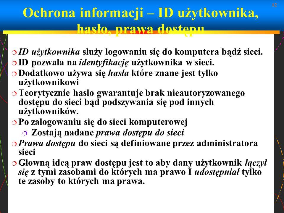 Ochrona informacji – ID użytkownika, hasło, prawa dostępu