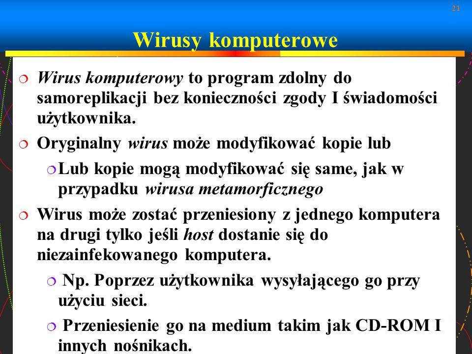 Wirusy komputerowe Wirus komputerowy to program zdolny do samoreplikacji bez konieczności zgody I świadomości użytkownika.