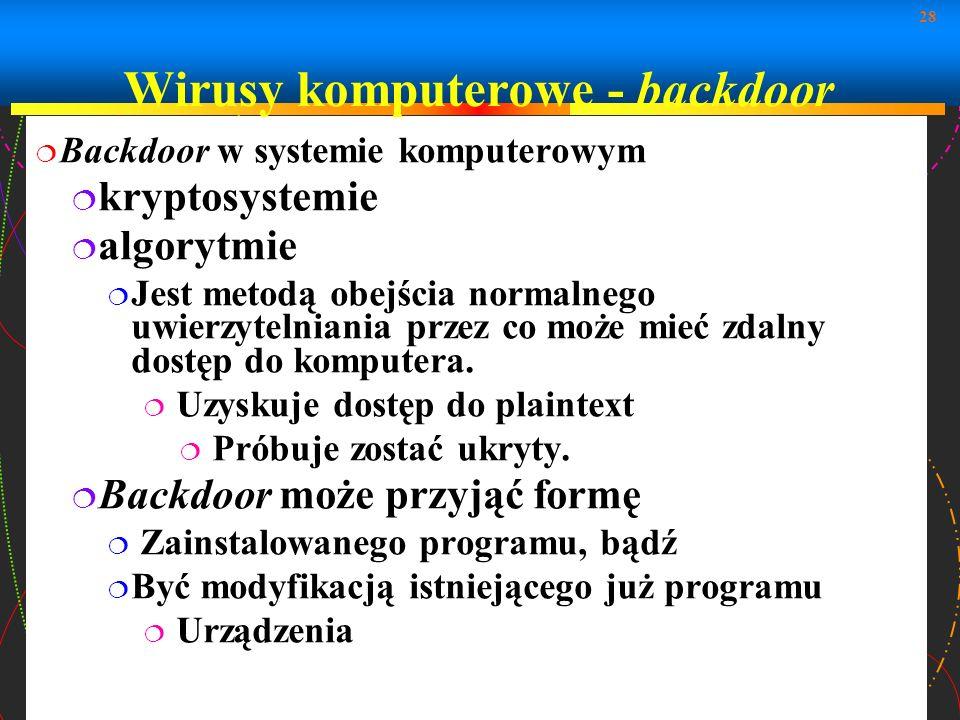 Wirusy komputerowe - backdoor