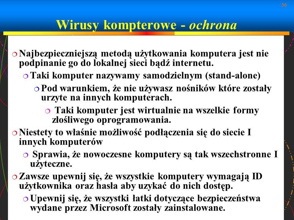 Wirusy kompterowe - ochrona