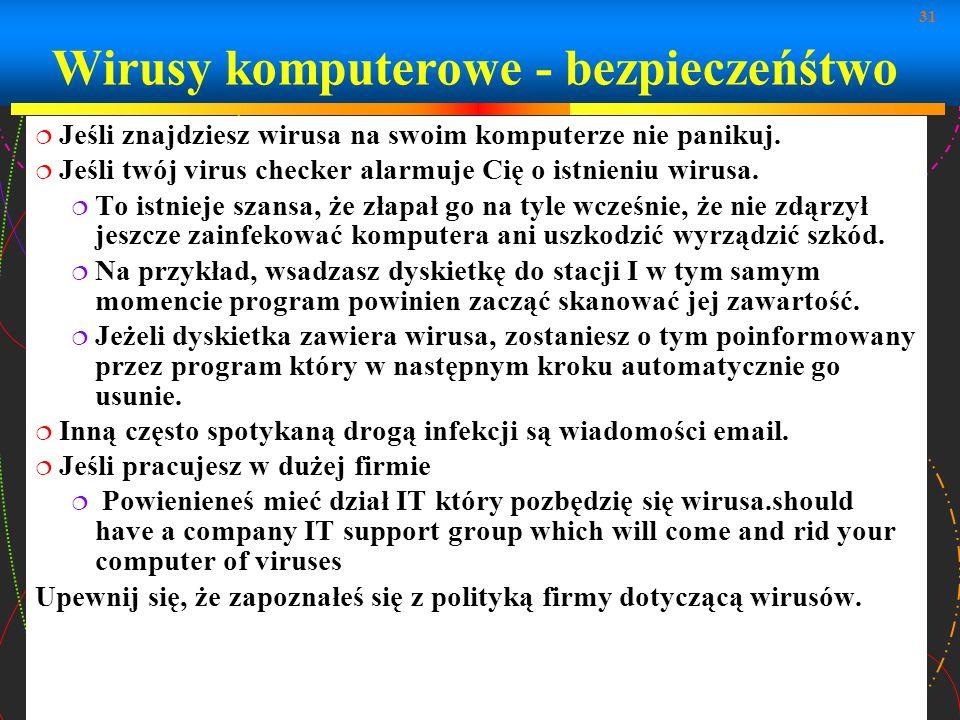Wirusy komputerowe - bezpieczeńśtwo