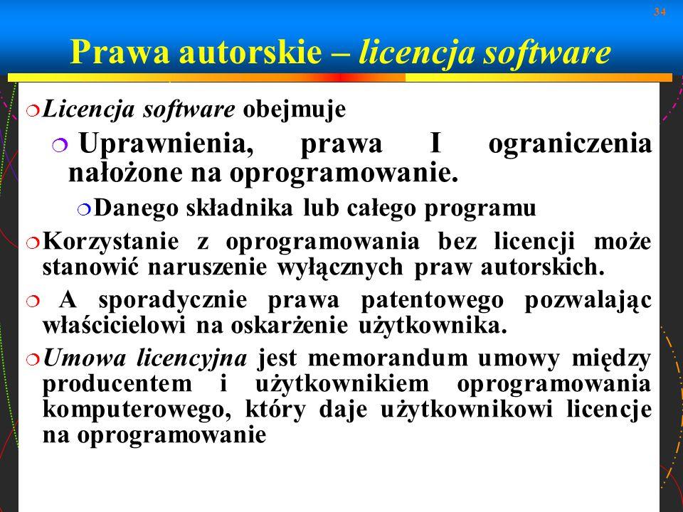 Prawa autorskie – licencja software