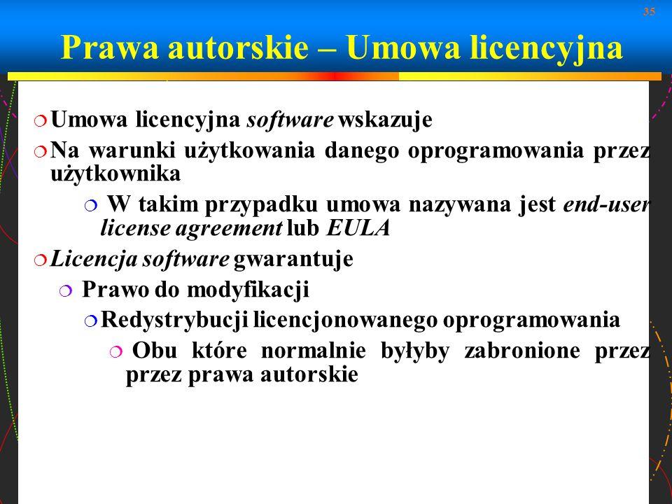 Prawa autorskie – Umowa licencyjna