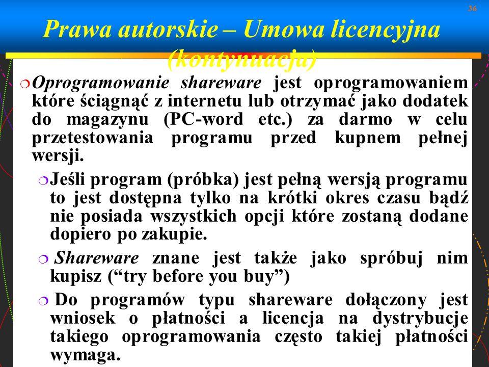 Prawa autorskie – Umowa licencyjna (kontynuacja)
