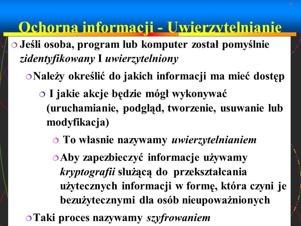 Ochorna informacji - Uwierzytelnianie