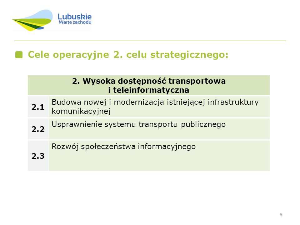 2. Wysoka dostępność transportowa i teleinformatyczna