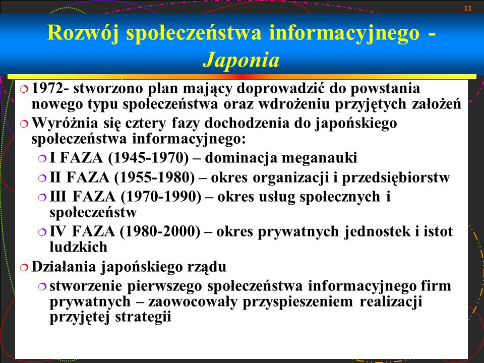 Rozwój społeczeństwa informacyjnego -Japonia