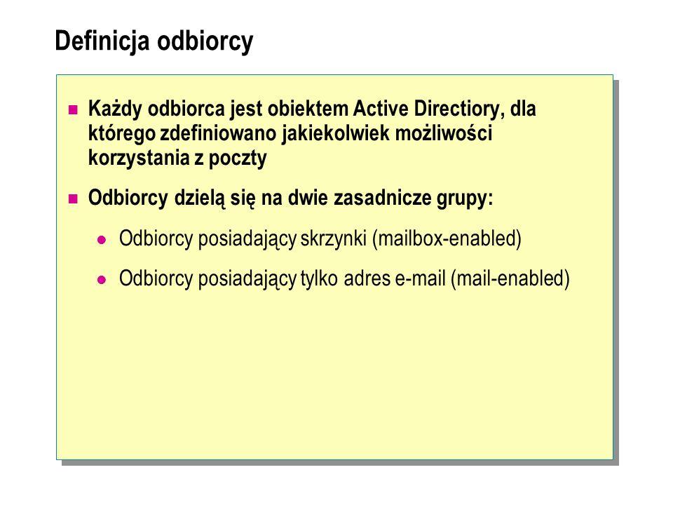 Definicja odbiorcyKażdy odbiorca jest obiektem Active Directiory, dla którego zdefiniowano jakiekolwiek możliwości korzystania z poczty.
