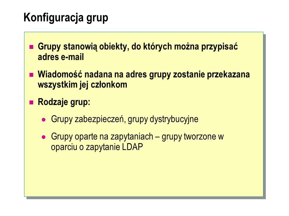 Konfiguracja grup Grupy stanowią obiekty, do których można przypisać adres e-mail.