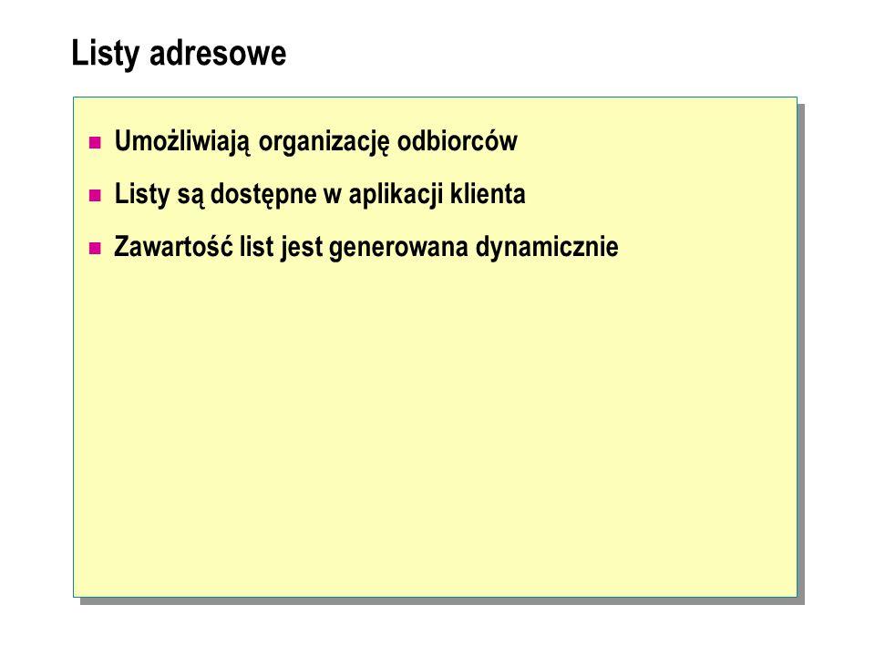 Listy adresowe Umożliwiają organizację odbiorców