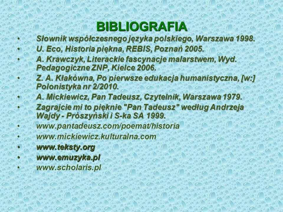 BIBLIOGRAFIA Słownik współczesnego języka polskiego, Warszawa 1998.