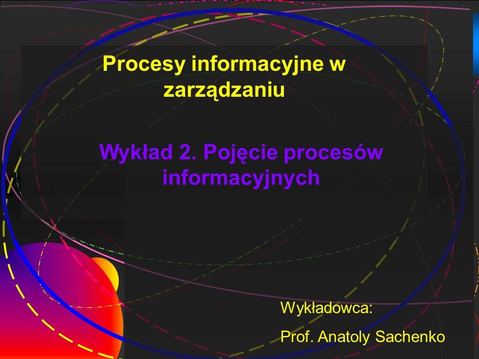Wykład 2. Pojęcie procesów informacyjnych