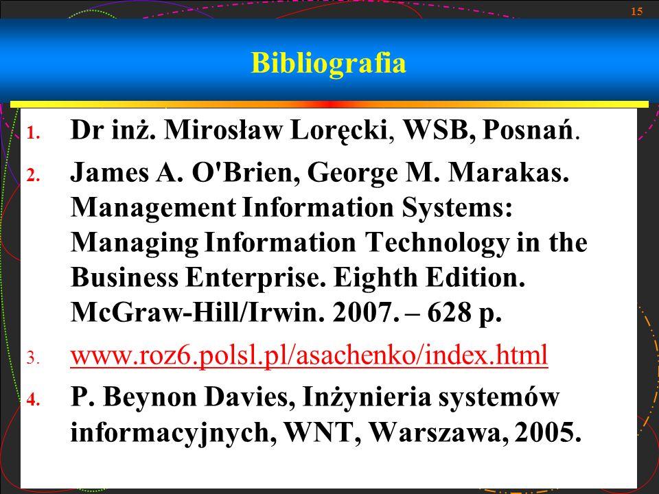 Bibliografia Dr inż. Mirosław Loręcki, WSB, Posnań.