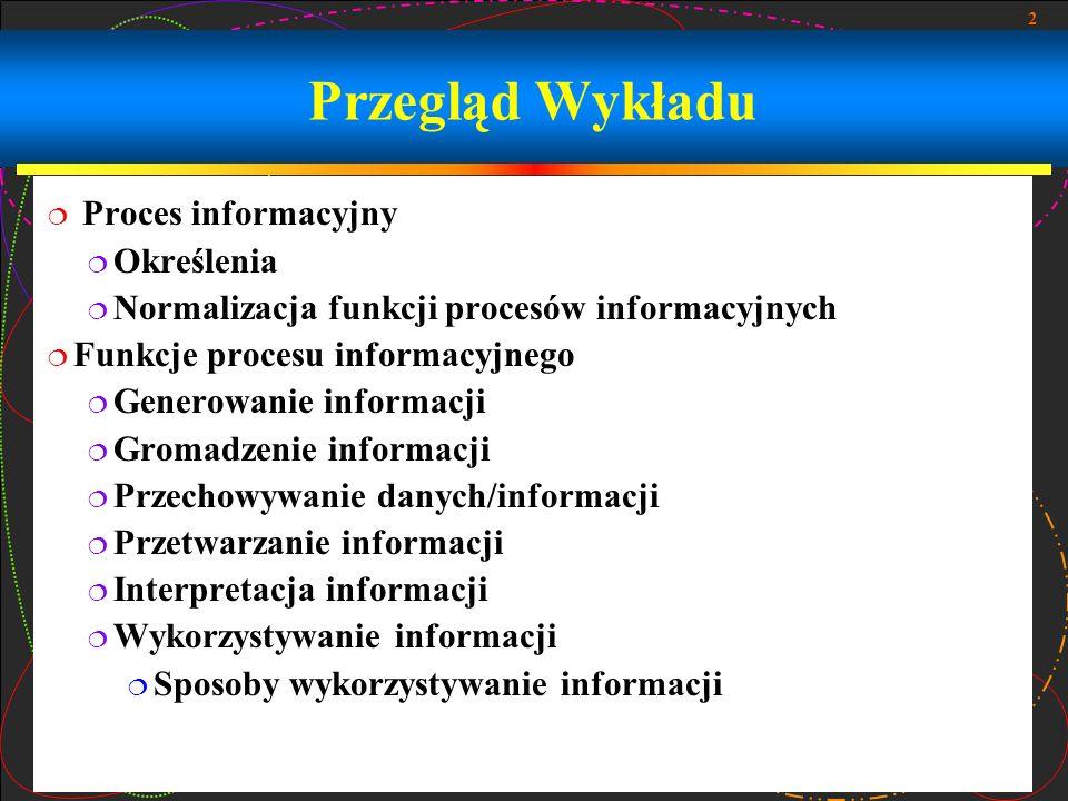 Przegląd Wykładu Proces informacyjny Określenia
