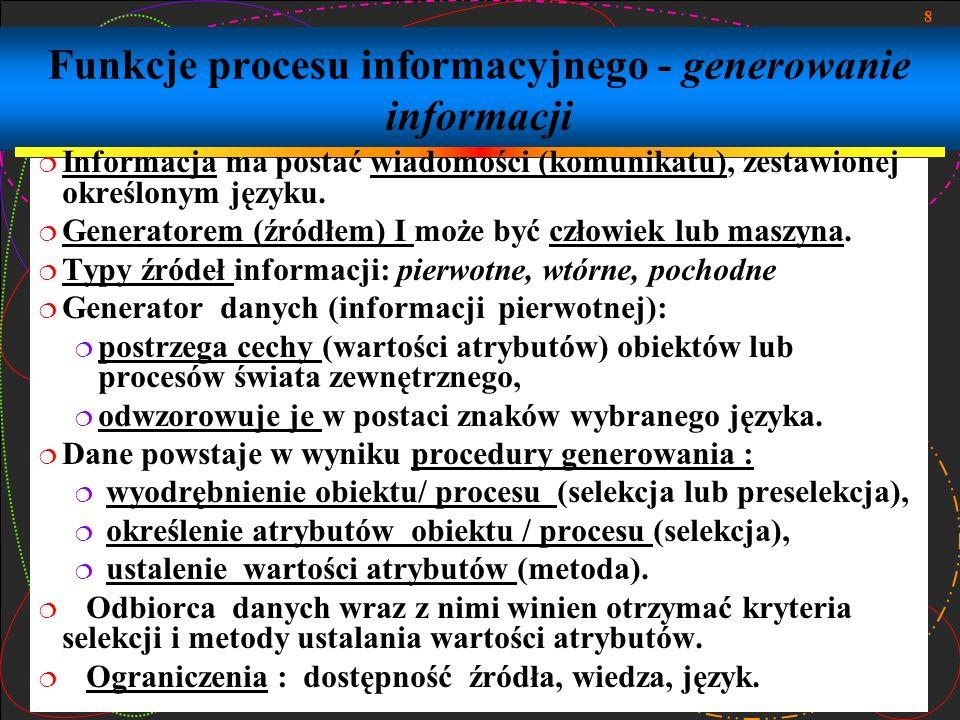 Funkcje procesu informacyjnego - generowanie informacji