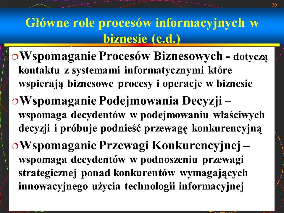 Główne role procesów informacyjnych w biznesie (c.d.)
