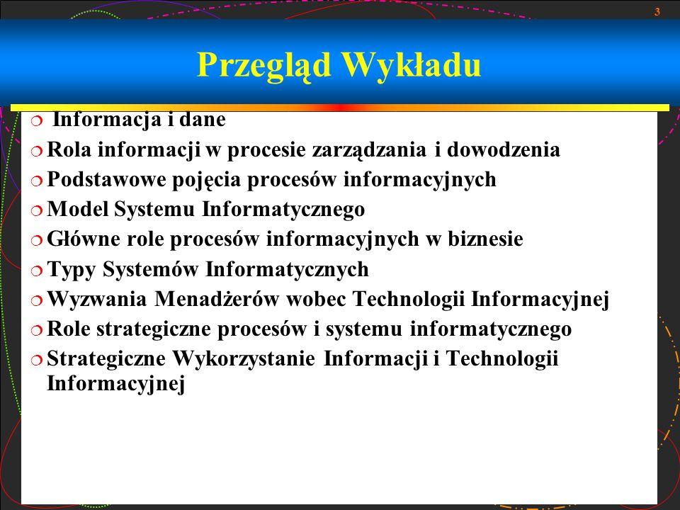 Przegląd Wykładu Informacja i dane