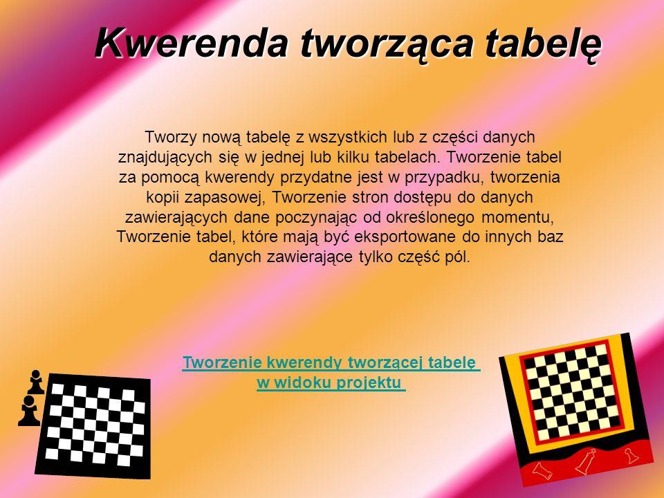 Tworzenie kwerendy tworzącej tabelę