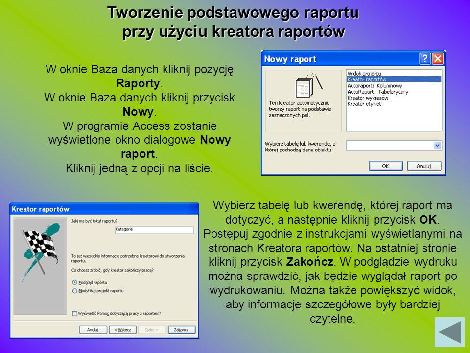 Tworzenie podstawowego raportu przy użyciu kreatora raportów