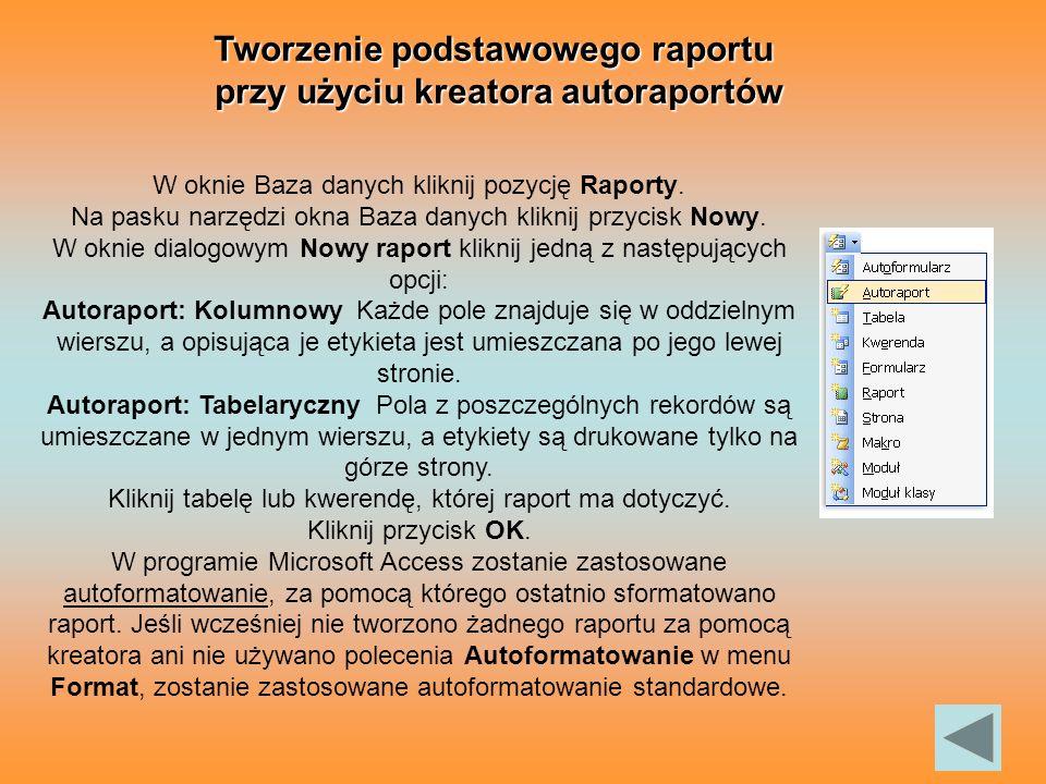 Tworzenie podstawowego raportu przy użyciu kreatora autoraportów
