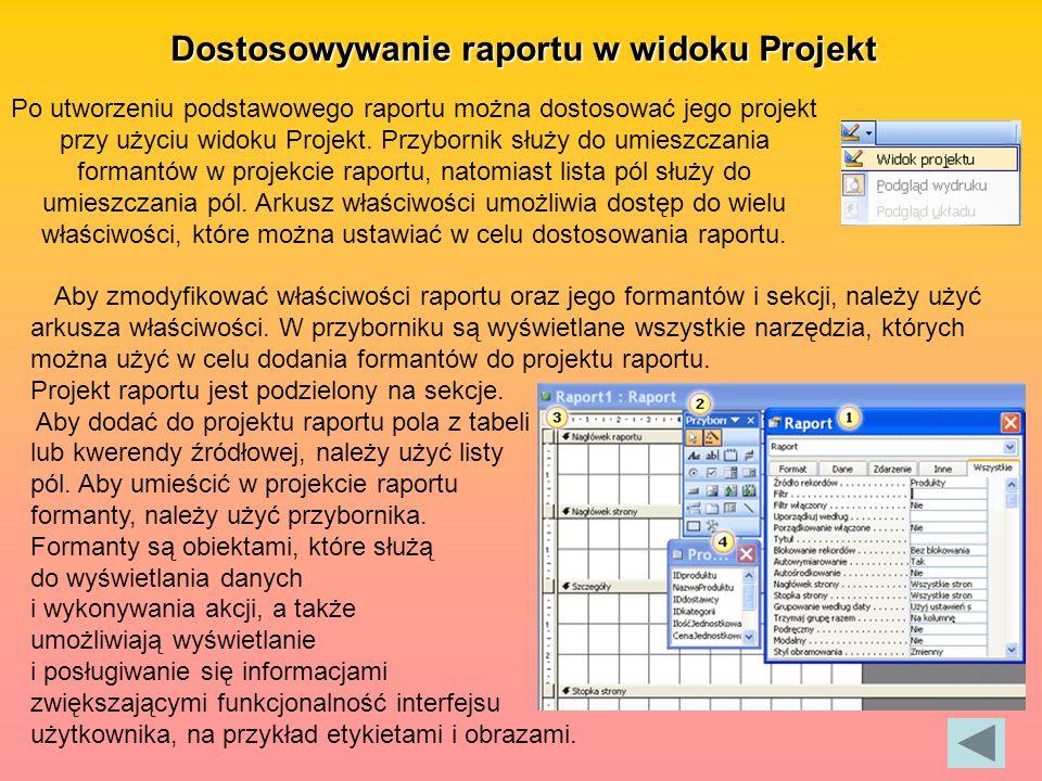 Dostosowywanie raportu w widoku Projekt