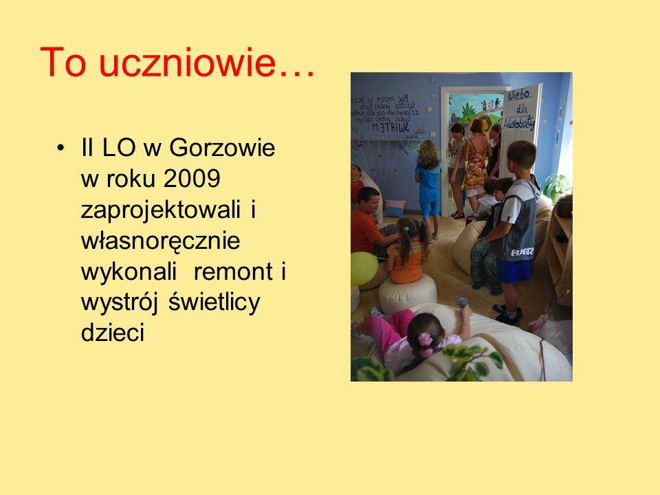 To uczniowie… II LO w Gorzowie w roku 2009 zaprojektowali i własnoręcznie wykonali remont i wystrój świetlicy dzieci.