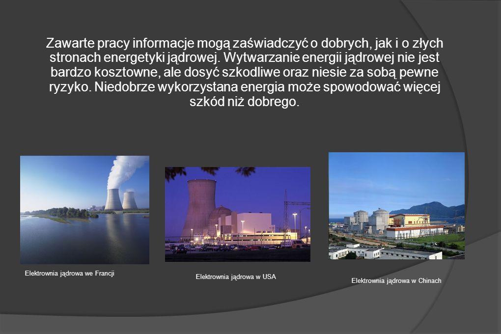 Zawarte pracy informacje mogą zaświadczyć o dobrych, jak i o złych stronach energetyki jądrowej. Wytwarzanie energii jądrowej nie jest bardzo kosztowne, ale dosyć szkodliwe oraz niesie za sobą pewne ryzyko. Niedobrze wykorzystana energia może spowodować więcej szkód niż dobrego.