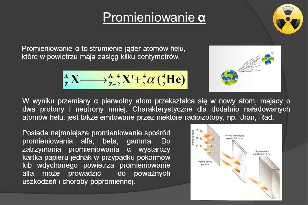 Promieniowanie α Promieniowanie α to strumienie jąder atomów helu,