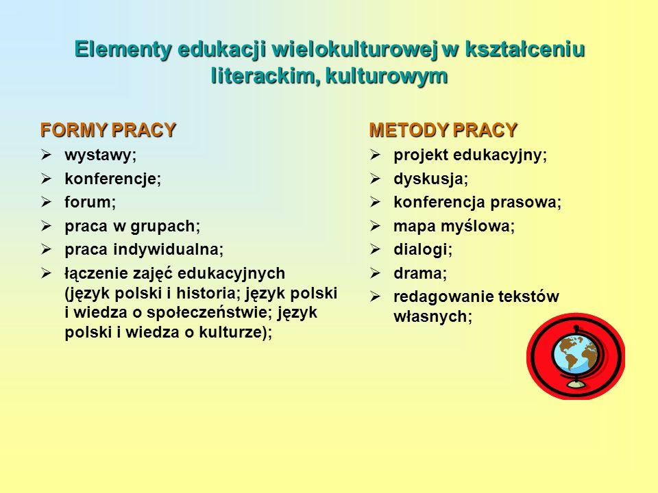 Elementy edukacji wielokulturowej w kształceniu literackim, kulturowym
