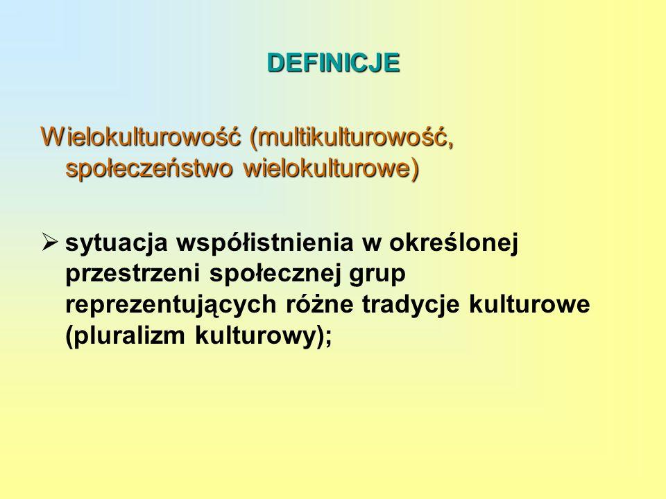 DEFINICJE Wielokulturowość (multikulturowość, społeczeństwo wielokulturowe)