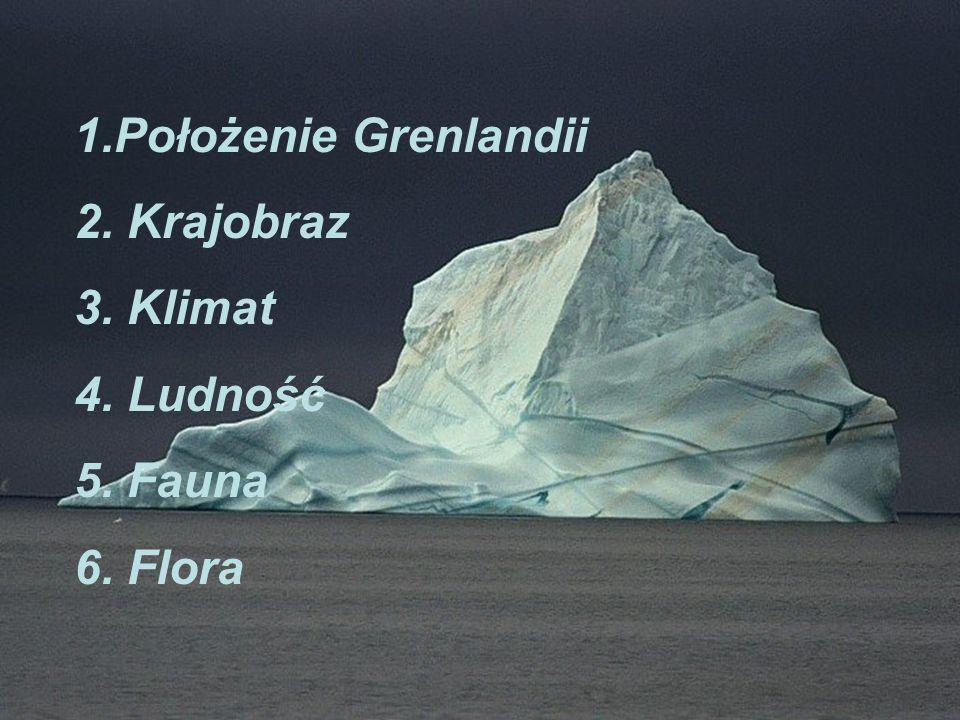Położenie Grenlandii 2. Krajobraz 3. Klimat 4. Ludność 5. Fauna 6. Flora