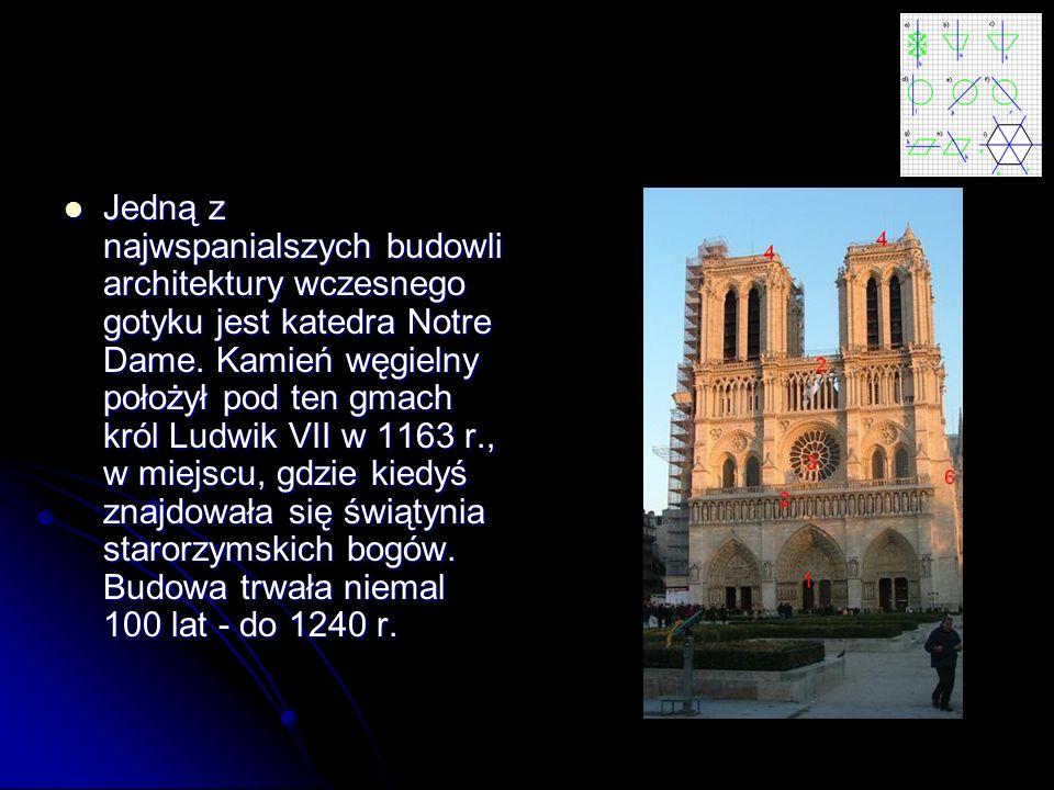 Jedną z najwspanialszych budowli architektury wczesnego gotyku jest katedra Notre Dame.