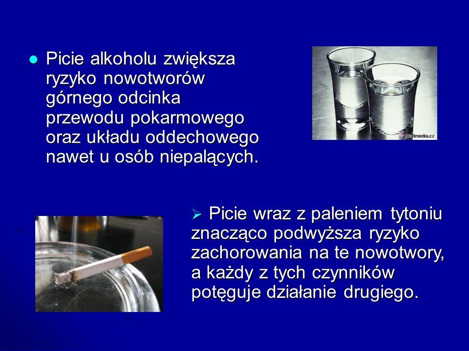 Picie alkoholu zwiększa ryzyko nowotworów górnego odcinka przewodu pokarmowego oraz układu oddechowego nawet u osób niepalących.
