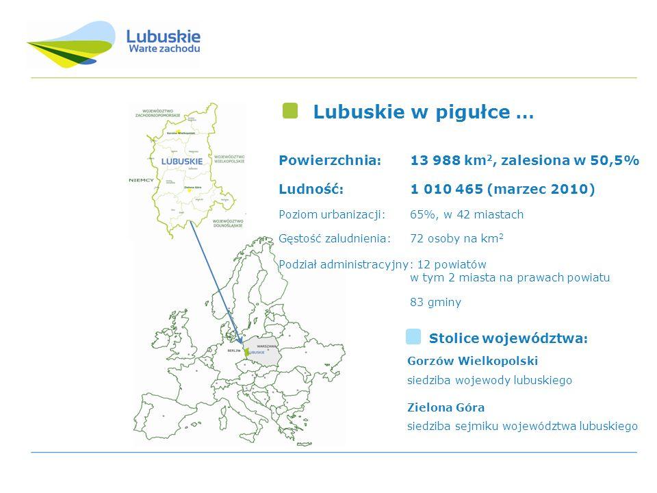 Lubuskie w pigułce … Powierzchnia: 13 988 km2, zalesiona w 50,5%