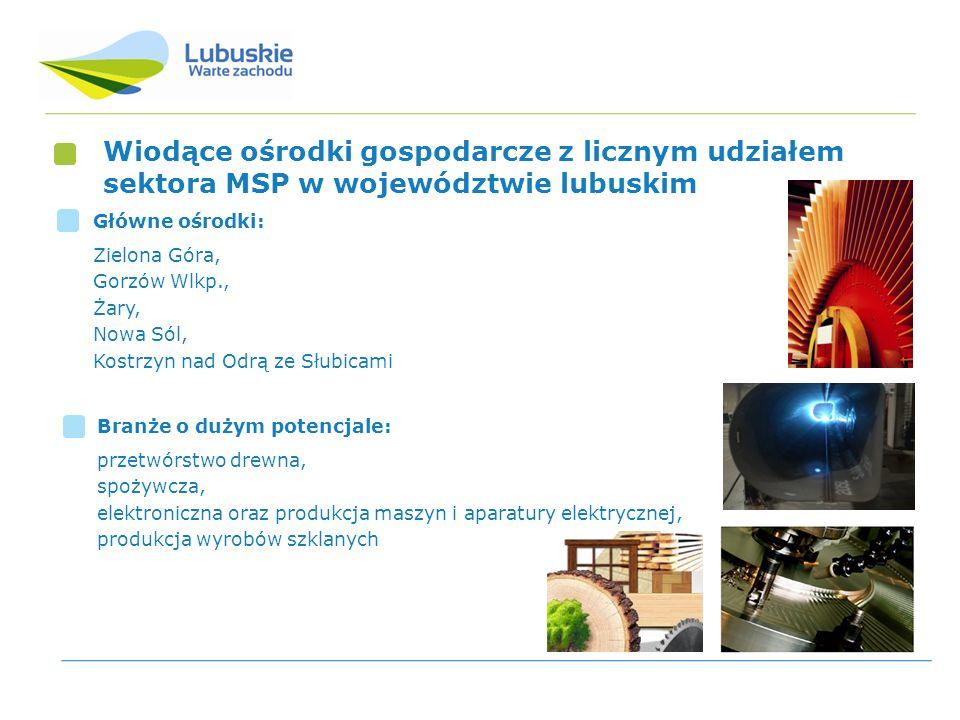 Wiodące ośrodki gospodarcze z licznym udziałem sektora MSP w województwie lubuskim