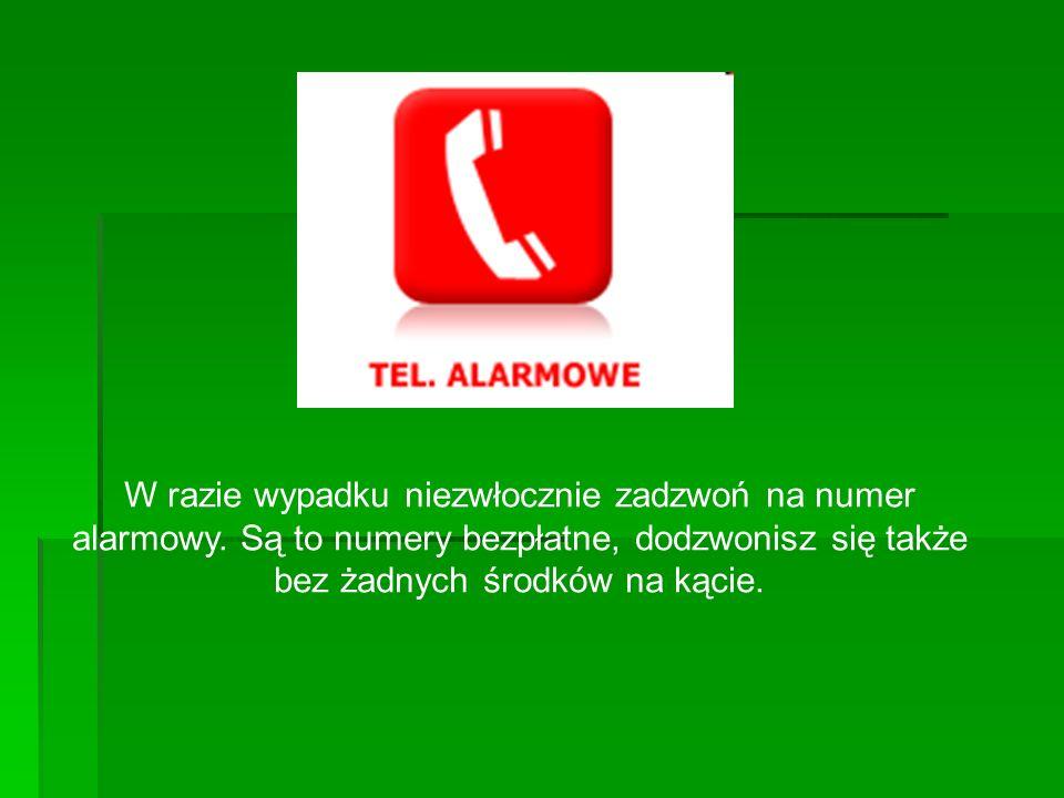 W razie wypadku niezwłocznie zadzwoń na numer alarmowy