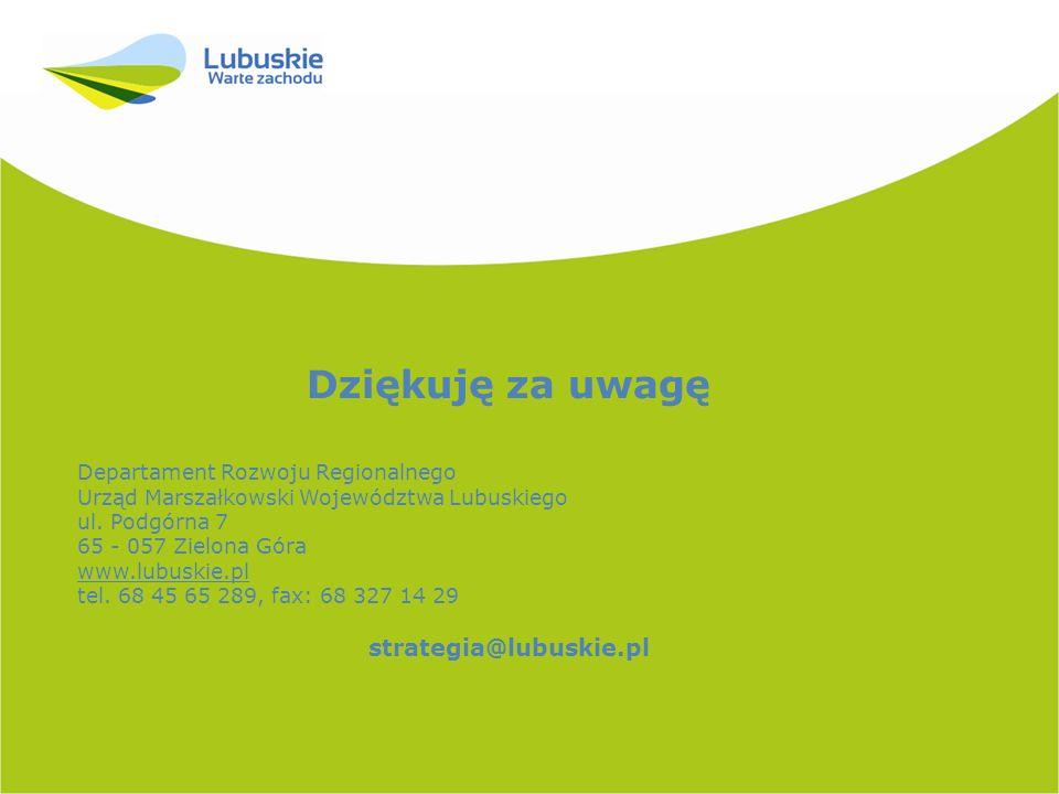 Dziękuję za uwagę strategia@lubuskie.pl