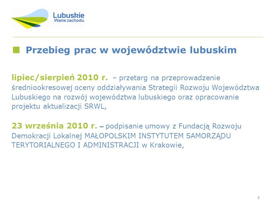 Przebieg prac w województwie lubuskim
