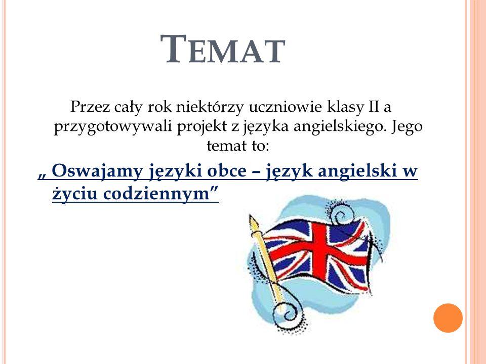 """Temat """" Oswajamy języki obce – język angielski w życiu codziennym"""