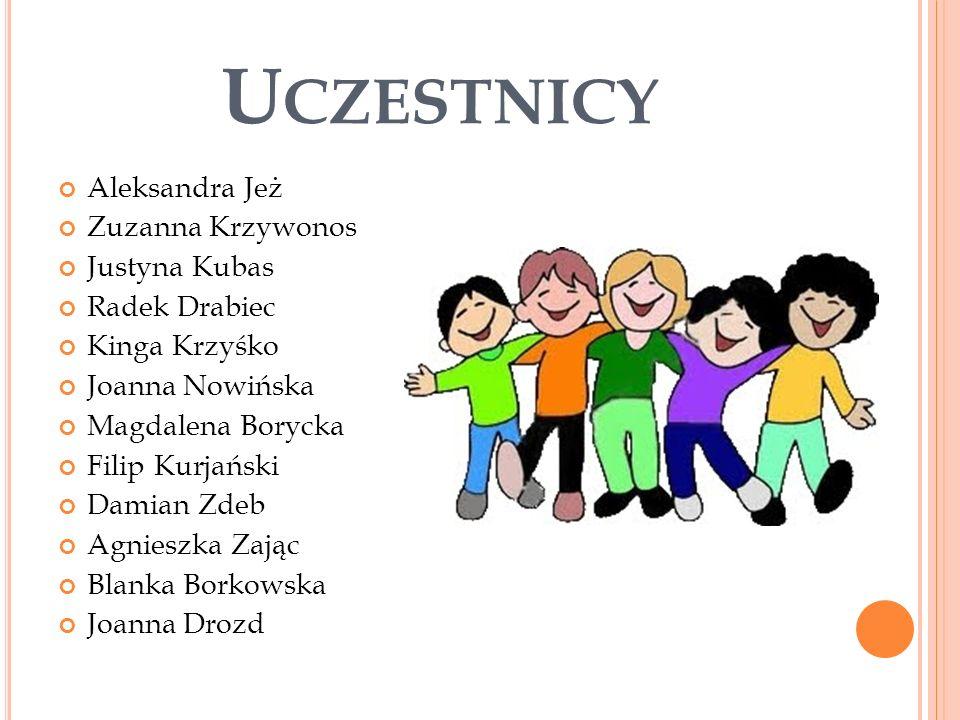 Uczestnicy Aleksandra Jeż Zuzanna Krzywonos Justyna Kubas